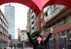 Capturing a friend in the Distillery District.